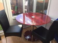 Glass Table and 2 x Black Leather Chairs
