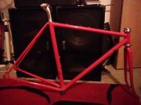 Reynolds road racing Raleigh frame 653 753 50cm classic frameset forks fixie single speed bike