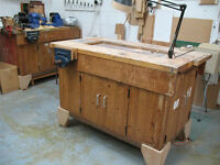 Joinery workbench for sale with two vices.
