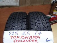 matching pair of 225 65 17 yokohama geolanders 6mm tread £70 pair supp & fitted (loads more av}