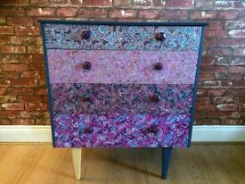 Upcycled decoupaged retro mid century chest of drawers