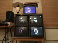 4 MONITORS, CRT,JVC, PROP USE, FILM, ART GALLERY, INSTALLATION, CCTV, RETRO TMH1750C