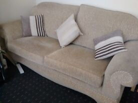 2/3 seater sofa with 2 chairs and stool