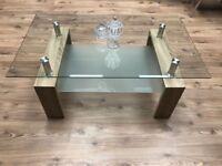 Luxury Coffee Table Light Wood & Glass