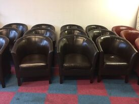 12 x Dark Brown Faux Leather Armchairs in great condition