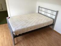 Double Bed - Grey/Silver Metal Frame