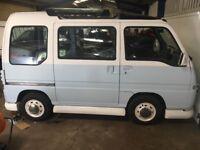 Vw replica, Subaru sambar retro van blue and white,
