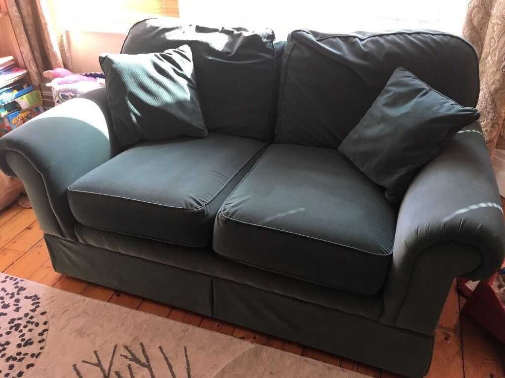 M&S 2 seater couch turquoise green