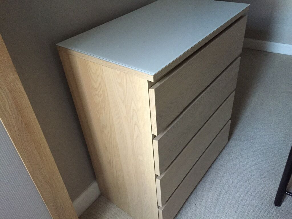 IKEA MALM Chest of 4 Drawers with MALM glass top