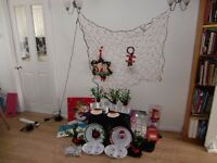 assorted Christmas items - cards - tags - bags - table decorations - tableware -net lights and more