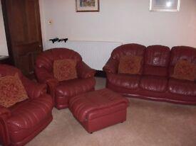 Burgundy Leather 3 Piece Suite + foot rest