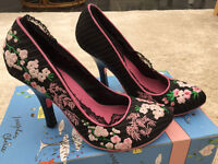 Irregular Choice black pinstripe heels with embroidered flowers. UK Size 5.