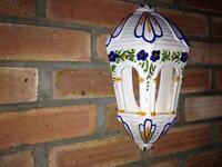 Garden wall T lighter painted glazed ceramic ornament