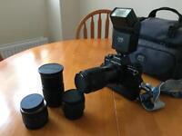 Praktica BCA 35 mm Camera with assorted lenses