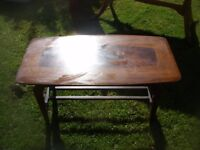 OLD WOODEN COFFEE TABLE DARK WOOD