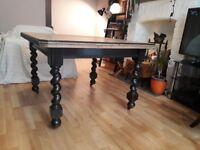 Victorian Oak Dining Table, pub table, square, ebonised barley twist legs, fantastic condition