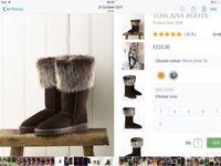 Celtic sheepskin boots size 6 worn ,were £215 new