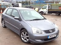 HONDA CIVIC 1.6 VTEC SE,HPI CLEAR,2 KEY,A/C,ALLOY,3 OWNER,6 MONTH M.O.T,FULL SERVICE