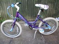 childs bike 4-7 year olds. Raleigh. Unisex, Purpel. Hardly used