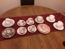 cups and saucers by various makes. X10