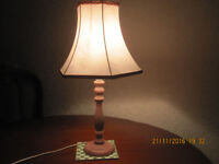 Table lamp, light pink shade, from smoke and pet free home, £ 5