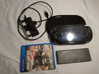 Fat PS Vita with 2 memory cards docking station and god eater game bundle