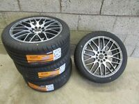 """--- BRAND NEW SET OF 4 17 """" ALLOYS + NEW TYRES ---"""
