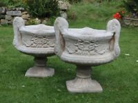 Exquisite Pair of Cast Stone Twin Handled Urn Pedestal Garden Planters 54cm Tall