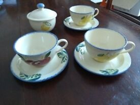 Dorset Fruits Poole pottery - cups, saucers and sugar bowl