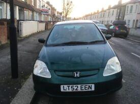 Car honda civic 1.6 manual 2002 with 5 doors