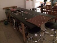 Kitchen worktop with gas hob and oven