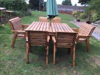 Extra large Seater solid wooden chunky garden set