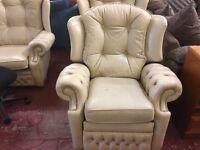 Cream leather 3 piece Chesterfield sofa