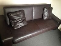 Free brown leather look bed setee / sofa