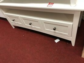 3 drawer long TV unit - white