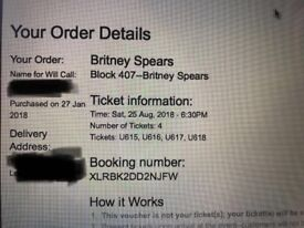 Britney Spears O2 Saturday 25th August 4 seated tickets less than face value