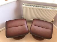 Leather Foot Stools x2