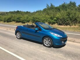 Peugeot 207 cc blue convertible car low mileage. Very good condition. Female owner