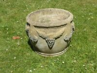 Vintage stylish large cast stone garden planter grape & swag detail 30cm tall
