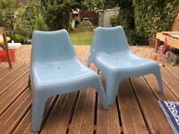 Two Ikea children's 'bunso' garden chairs