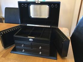 Large black jewellery box with doors and draws
