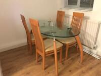 Table and chairs, oak, cream cushions