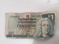 Royal bank of Scotland £1 note
