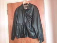 Harrods Mens Black Leather Jacket size Large