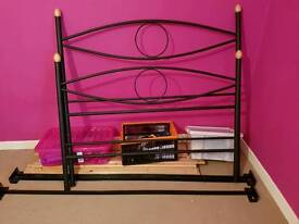 A black double bed frame