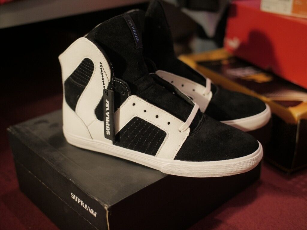 36215fdd1a1 Supra Pilot White and Black Suede Men's Hightop Trainers Shoes, Mint  Condition
