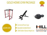 *£80 Discount* Gold Home Gym Package - Power Cage Adjustable Bench Olympic Weights and Barbell