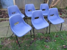 Vintage Blue Plastic Stacking Dining Chairs x 6