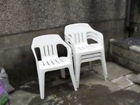 Garden Chairs in White x 4