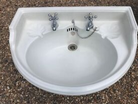 Antique curved bathroom basin. Made by John Bolding & Sons, Grosvenor Works London W1. 650 x 480